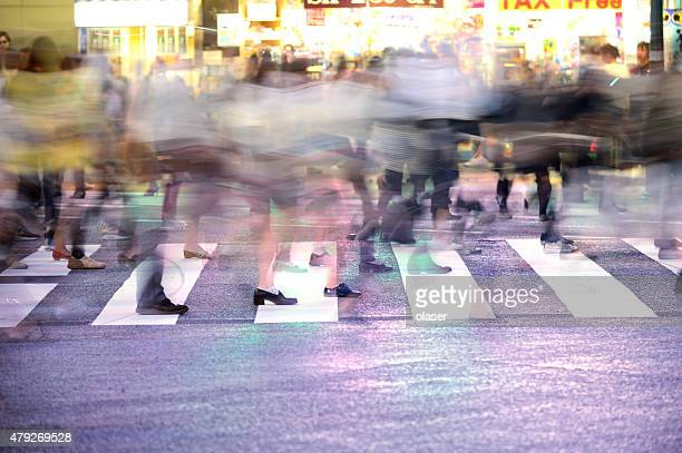 Motion blurred Shibuya (zebra) crossing