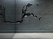 3D render. Men's figure made of metal.