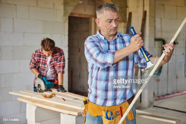 Motivated carpenter with hammer. Debica, Poland