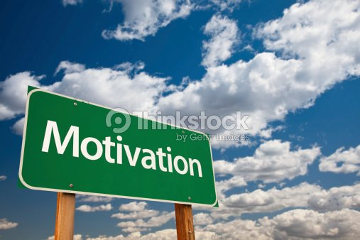 Motivation Green Road Sign : Stock Photo
