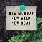 'New Monday, new week, new goal' on white paper. With vintage styled background.