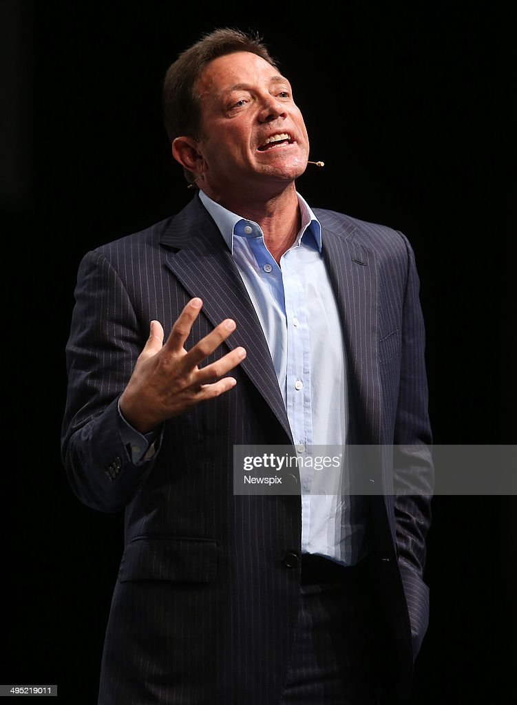 Motivational speaker <a gi-track='captionPersonalityLinkClicked' href=/galleries/search?phrase=Jordan+Belfort&family=editorial&specificpeople=6326027 ng-click='$event.stopPropagation()'>Jordan Belfort</a> speaks on 'The Art of Prospecting' at a real estate agents' conference at the Gold Coast Convention Centre on June 1, 2014 on the Gold Coast, Australia.
