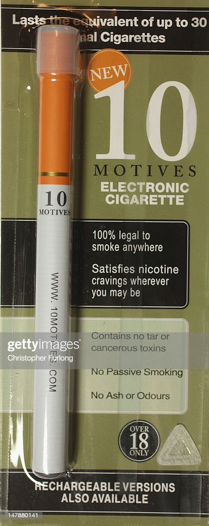 Motives' electronic cigarette on July 5, 2012 in Knutsford, United Kingdom. Electronic cigarettes are the latest health device for smokers hoping to quit nicotine addiction. Earlier today a major security operation took place in Staffordshire, England, after a passenger on a coach used an electronic cigarette which was mistaken for something more sinister and a full scale security alert was instigated. The 48 passengers were later allowed to carry on with their journey.