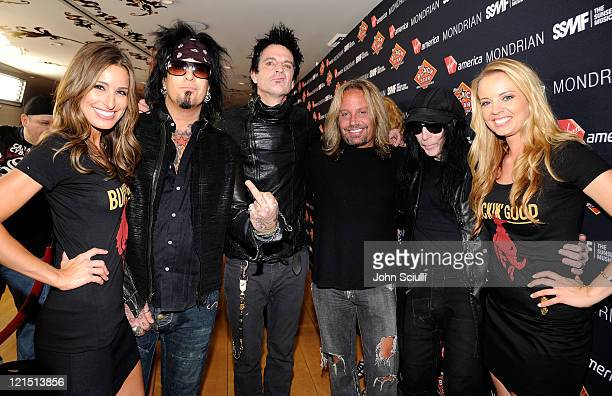 Motley Crue Nikki Six Tommy Lee Vince Neil and Mick Mars attend the Get Stripped VIP Party of the 4th Annual Sunset Strip Music Festival presented by...
