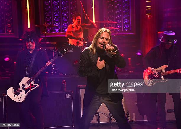 Motley Crue perform during a taping of 'The Tonight Show Starring Jimmy Fallon' at Rockefeller Center on January 22 2015 in New York City