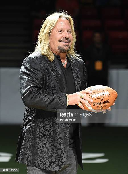 Motley Crue singer and Las Vegas Outlaws owner Vince Neil stands on the field before the Outlaws' inaugural home game at the Thomas Mack Center...