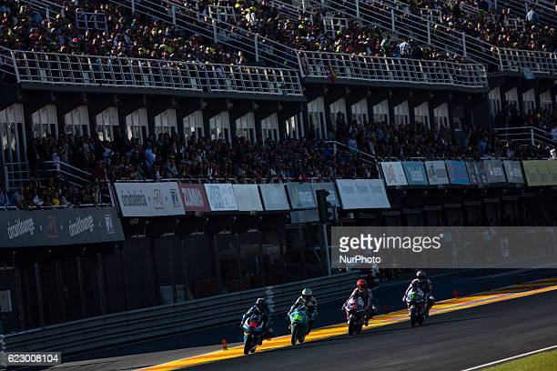 Moto 3 leading group of Andrea Migno Joan Mir Fabio Di Giannantonio and Enea Bastianini start during the race of Moto 3 Gran Premio Motul de la...