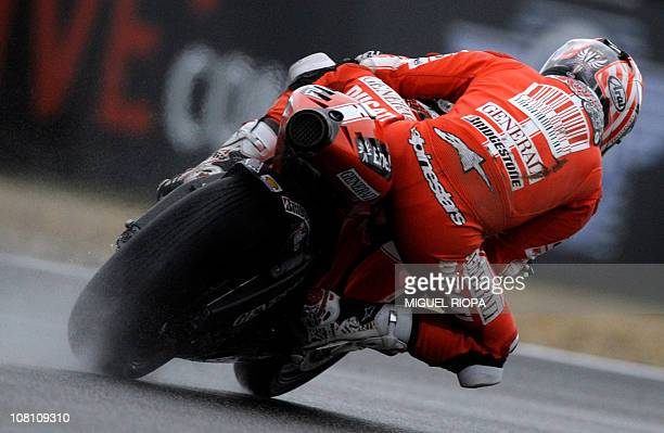 Moto GP rider Nicky Hayden from US rides his Ducati during the Free Practice 3 session for the Portugal Grand Prix in Estoril on October 30 2010 AFP...
