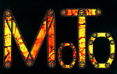 Steampunk font. Moto inscription from chain gear elements
