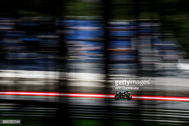 Moto2 rider competes competes during first practice session of the Moto2 Austrian Grand Prix weekend at Red Bull Ring in Spielberg Austria on August...