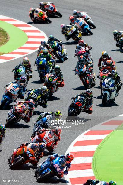 Moto2 rider race during the Moto2 event of the Catalunya Grand Prix at the Montmelo racetrack near Barcelona on June 11 2017 / AFP PHOTO / Josep LAGO