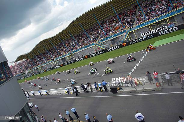 Moto2 riders start from the grid during the Moto2 race of the MotoGp Of Holland at TT Circuit Assen on June 30 2012 in Assen Netherlands