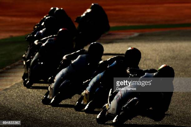 Moto3 riders in action during the Moto3 warmup ahead of the Moto3 race at Circuit de Catalunya on June 11 2017 in Montmelo Spain