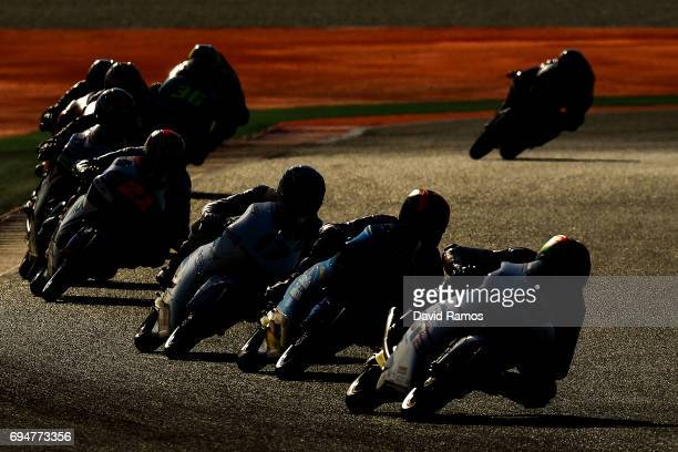 Moto3 riders in action during the Moto3 warmup ahead of the Moto3 of Catalunya at Circuit de Catalunya on June 11 2017 in Montmelo Spain