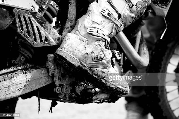 Motocross Boot with Mud, Black and White