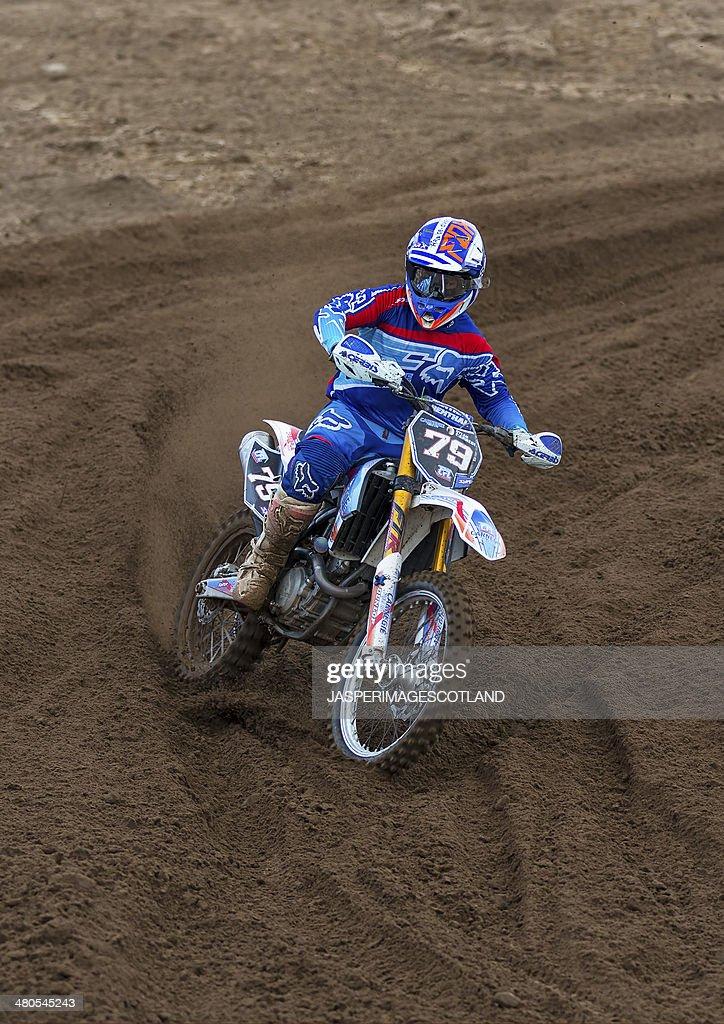 Motocross racer, Round 1,  SMXF at Tain MX, Scotland. : Stock Photo