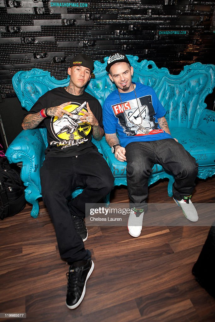 Motocross rider Jeremy Twitch Stenberg (L) and rapper Paul Wall (R) attend Jeremy 'Twitch' Stenberg's Famous Stars And Straps X-Games launch event at The Roxy Theatre on July 27, 2011 in West Hollywood, California.