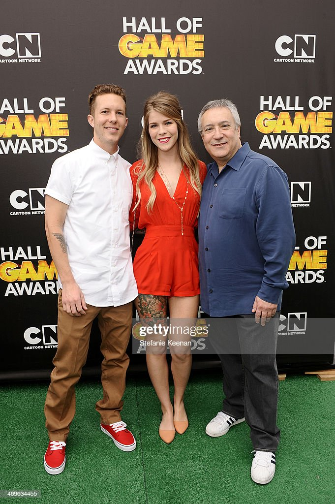 Motocross rider Lance Coury, guest and Cartoon Network President/COO Stuart Snyder attend Cartoon Network's fourth annual Hall of Game Awards at Barker Hangar on February 15, 2014 in Santa Monica, California.