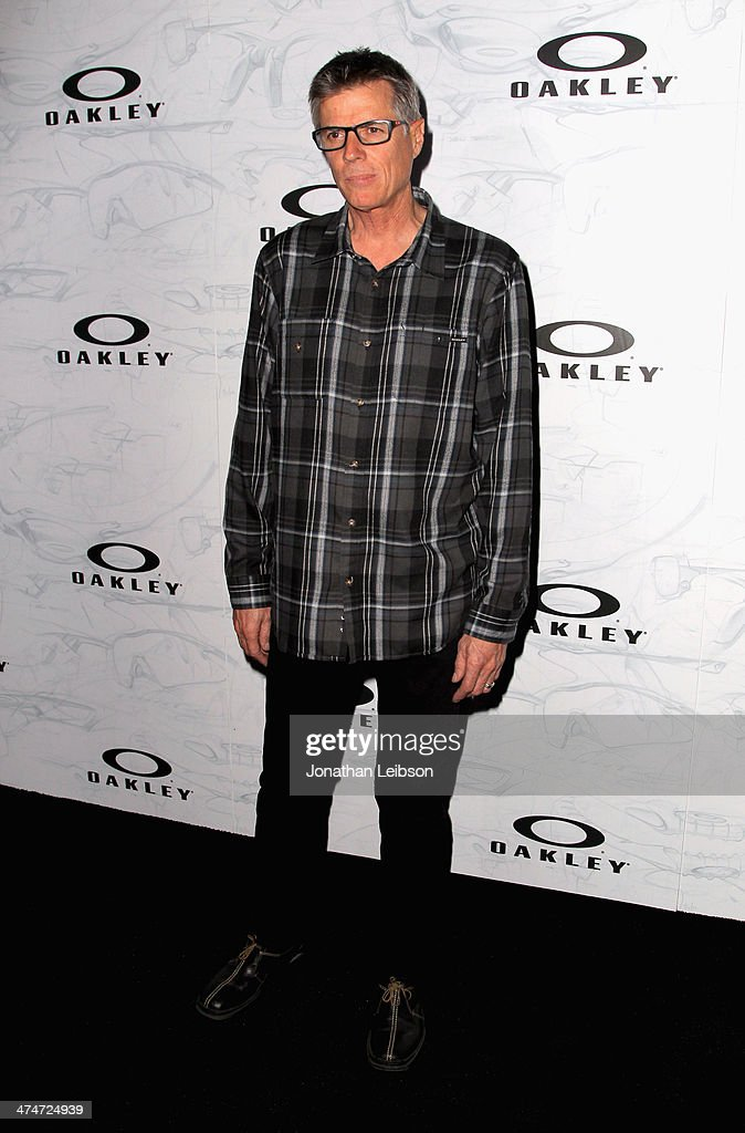 Motocross rider Mike Bell celebrates the past, present and future of Oakley's design and technology at the brand's 'Disruptive by Design' global campaign launch event at RED Studios on February 24, 2014 in Los Angeles, California.