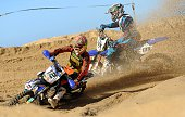 Motocross riders Martens Daymond and Rebergues Aurelien compete during the 4th round of the FFM France championship of the Sables in Hossegor on...