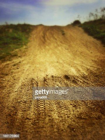 Motocross Tire Track on Muddy Ground