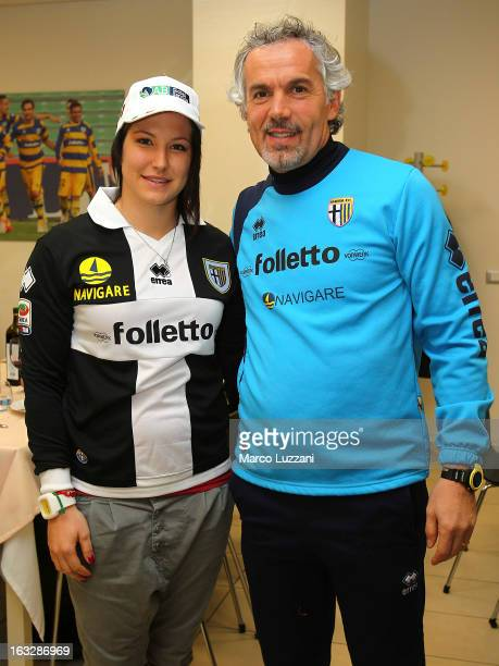 Motocross World Champion Kiara Fontanesi and Parma FC manager Roberto Donadoni during a visit at the club's training ground on March 6 2013 in...