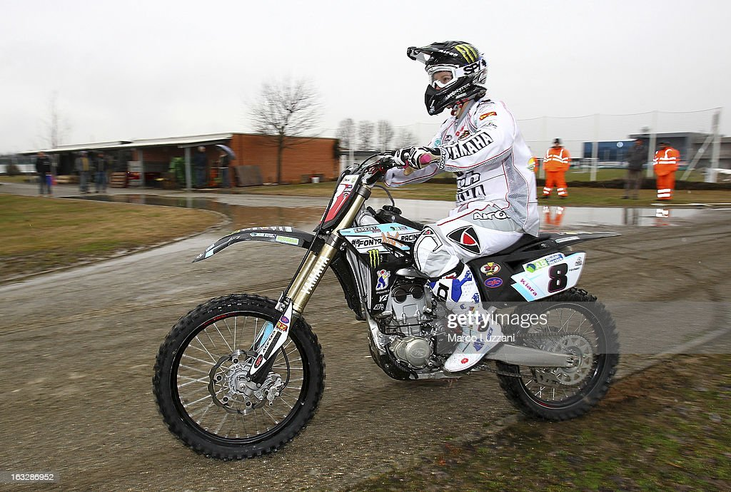 Motocross World Champion Kiara Fontanesi drive her motorbike during a visit to Parma FC at the club's training ground on March 6, 2013 in Collecchio, Italy.