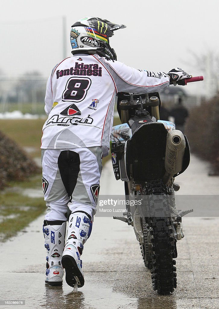 Motocross World Champion Kiara Fontanesi Meets Parma FC at the club's training ground on March 6, 2013 in Collecchio, Italy.