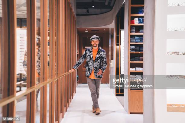 Motofumi Kogi aka Poggy creative director at the conceptstore United Arrows Sons is photographed for Madame Figaro on October 17 2016 in Tokyo Japan...