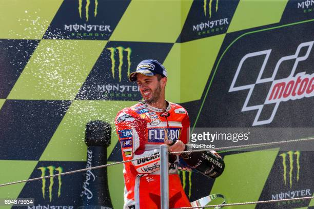 MotoGP Andrea Dovizioso Ducati Team wins the race during the MotoGp Grand Prix Monster Energy of Catalunya race in BarcelonaCatalunya Circuit...