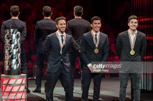MotoGP Award Night Motogp World championship podium from Andrea Dovizioso second palce Marc Marquez first place Maverick Vinales third place