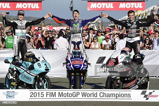 MotoGP Champions Movistar Yamaha's Spanish rider Jorge Lorenzo Ajo Motorsport's French rider Johann Zarco and Kiefer Racing's British rider Danny...