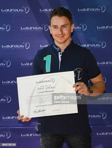 MotoGP rider and new Laureus Ambassador Jorge Lorenzo of Spain poses for the media at the Jeroni de Moragas Foundation on June 21 2017 in Barcelona...