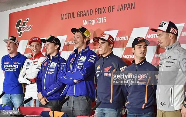 MotoGP riders Aleix Espargaro of Spain Andrea Iannone of Italy Jorge Lorenzo of Spain Valentino Rossi of Italy Marc Marquez of Spain Dani Pedrosa of...
