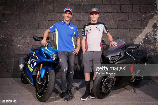MotoGP riders Alex Rins and Jack Miller visit the Old Melbourne Gaol during a media op ahead of the 2017 MotoGP of Australia at on October 18 2017 in...