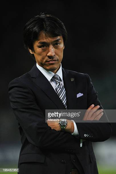 Motohiro Yamaguchi coach of Yokohama FC looks on during the JLeague second division match between Tokyo Verdy and Yokohama FC at Ajinomoto Stadium on...