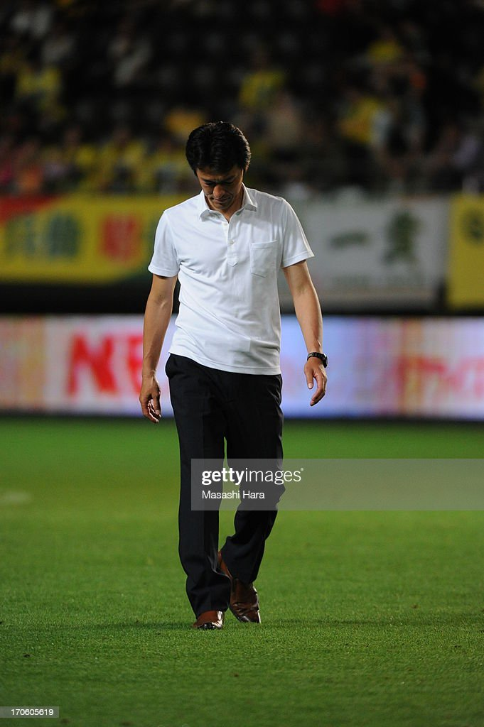 Motohiro Yamaguchi,coach of Yokohama FC looks on after the J.League second division match between JEF United Chiba and Yokohama FC at Fukuda Denshi Arena on June 15, 2013 in Chiba, Japan.