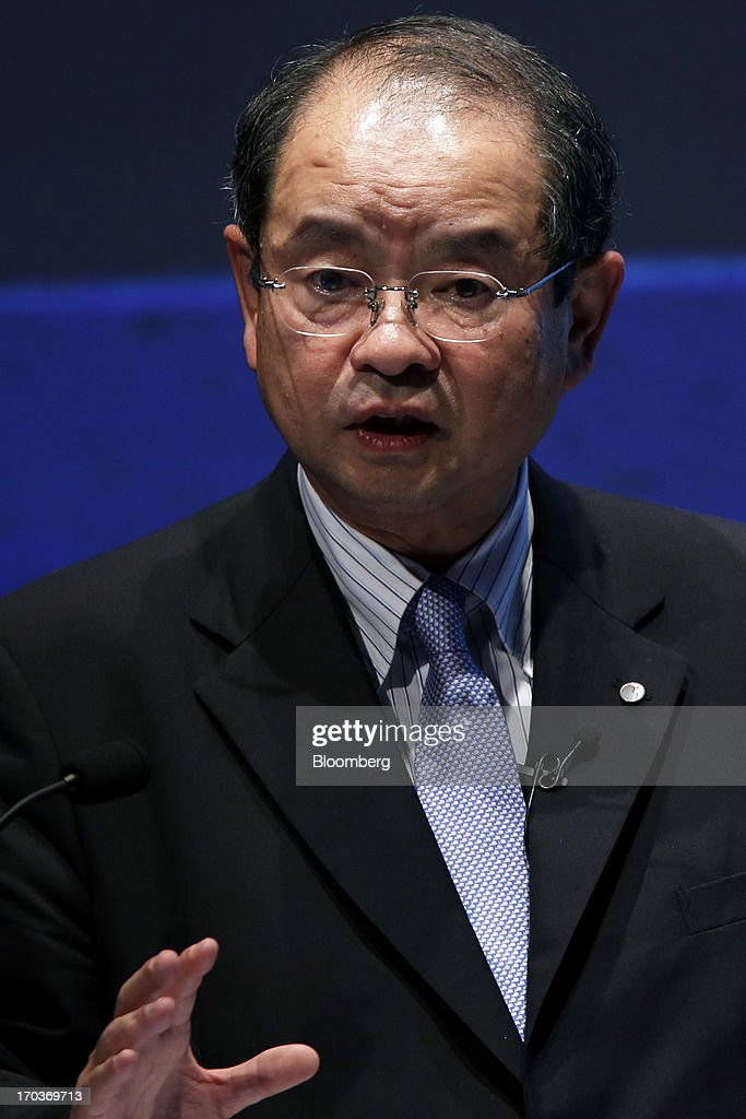 Motoki Ozaki, chairman of Kao Corp., speaks during the Global Summit of the Consumer Goods Forum 2013 in Tokyo, Japan, on Wednesday, June 12, 2013. The summit runs from June 12 to June 14. Photographer: Kiyoshi Ota/Bloomberg via Getty Images