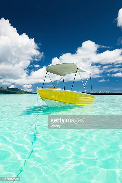 Motor Boat in Blue Lagoon Waters