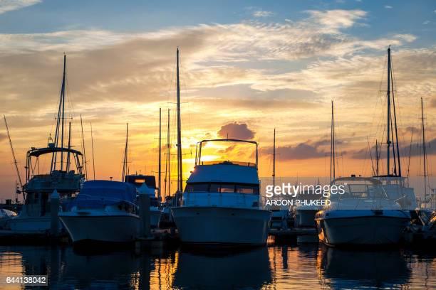 Motor boat in Pattaya city during sunset