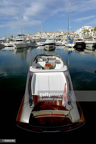 A motor boat in the port of Puerto Banus on July 27 2013 in Marbella Spain