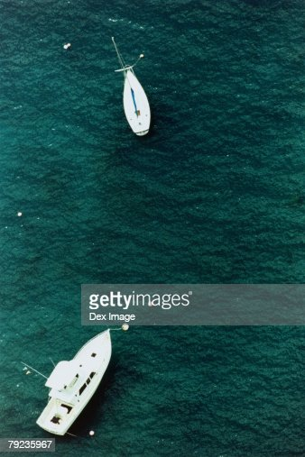 Motor boats on ocean, aerial view, Hawaii, USA : Stock Photo