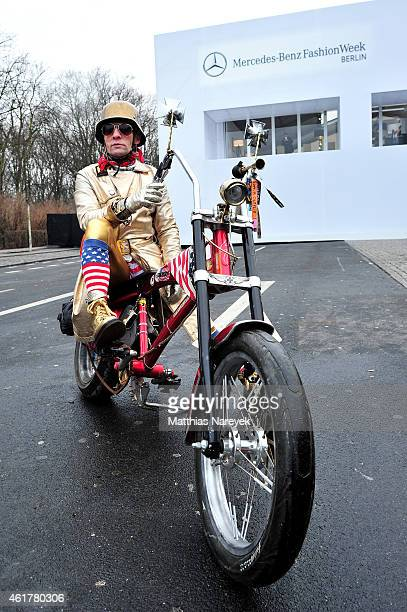 A motor cyclist is seen during the MercedesBenz Fashion Week Berlin Autumn/Winter 2015/16 at Brandenburg Gate on January 19 2015 in Berlin Germany
