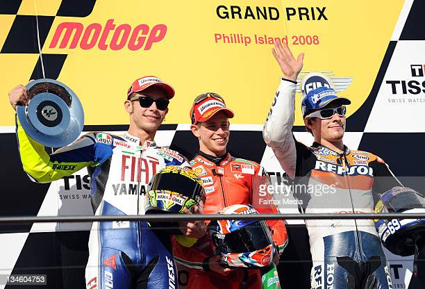 Motor GP Australian Grand Prix at Phillip Island Casey Stoner Valentino Rossi and Nicky Hayden 5th October 2008