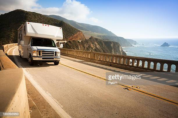 Motor home crossing the Bixby Bridge, Big Sur, California, USA