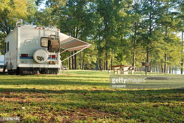 Motor home in a scenic campground