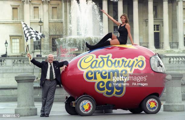 Motor racing commentator Murray Walker gets the Cadbury Creme Eggs 2000 mile roundthecountry creme egg run underway in London Sitting atop the egg is...