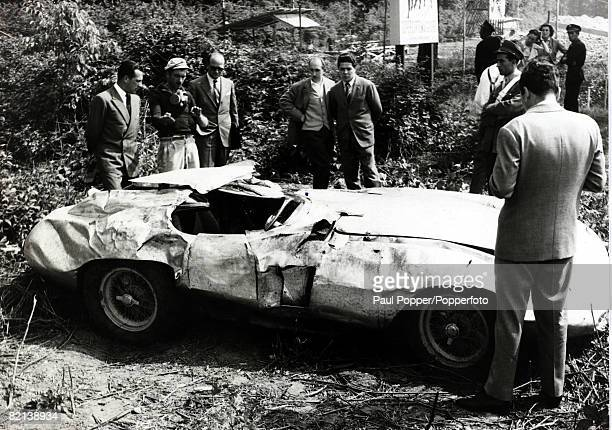 26th May 1955 Italian motor racing ace Alberto Ascari died when this Ferrari car he was testing skidded and somersaulted throwing him from the car...
