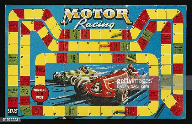 Motor Racing spiral race car game and bakelite toycar shaped counters with automotive 1940s England 20th century
