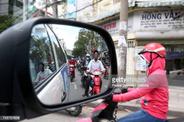 Motor Scooters on Saigon Street.  Vietnam.